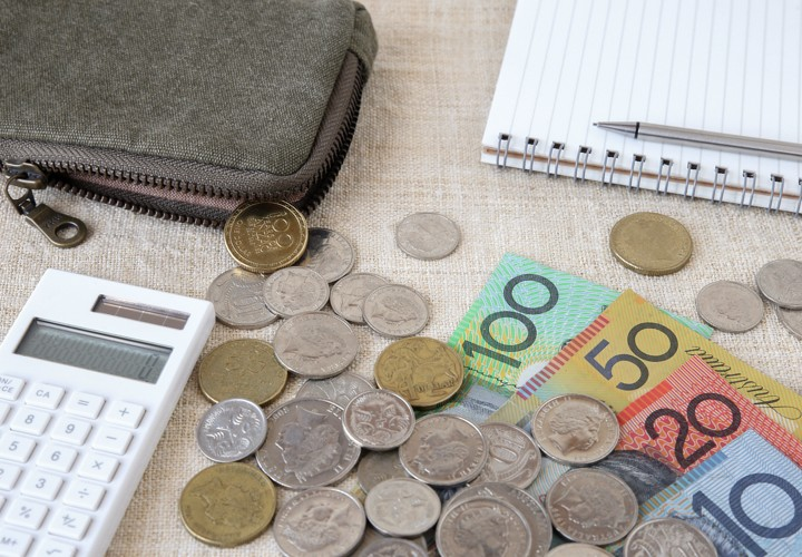 Austrlian coins, notes and general calculators.